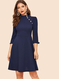 Button Detail Bow Cuff Fit & Flare Dress