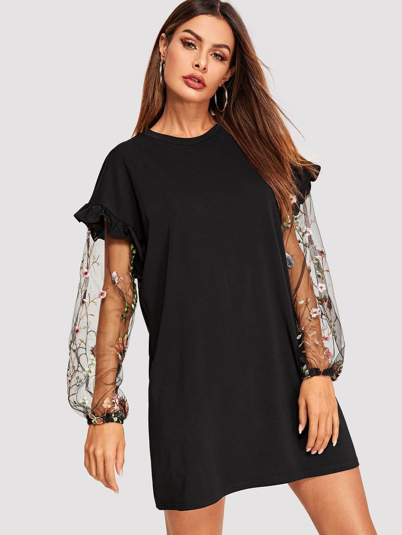 Купить Платье с сетчатыми рукавами и вышивкой, Andy, SheIn