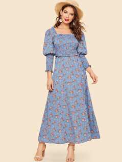 30s Ruffle Detail Leg-of-mutton Sleeve Square Neck Floral Dress