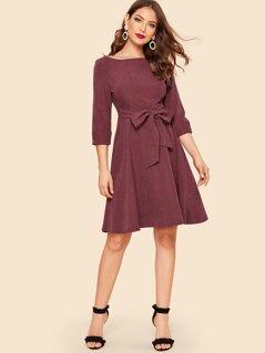 50s Waist Knot Zip Back Solid Dress