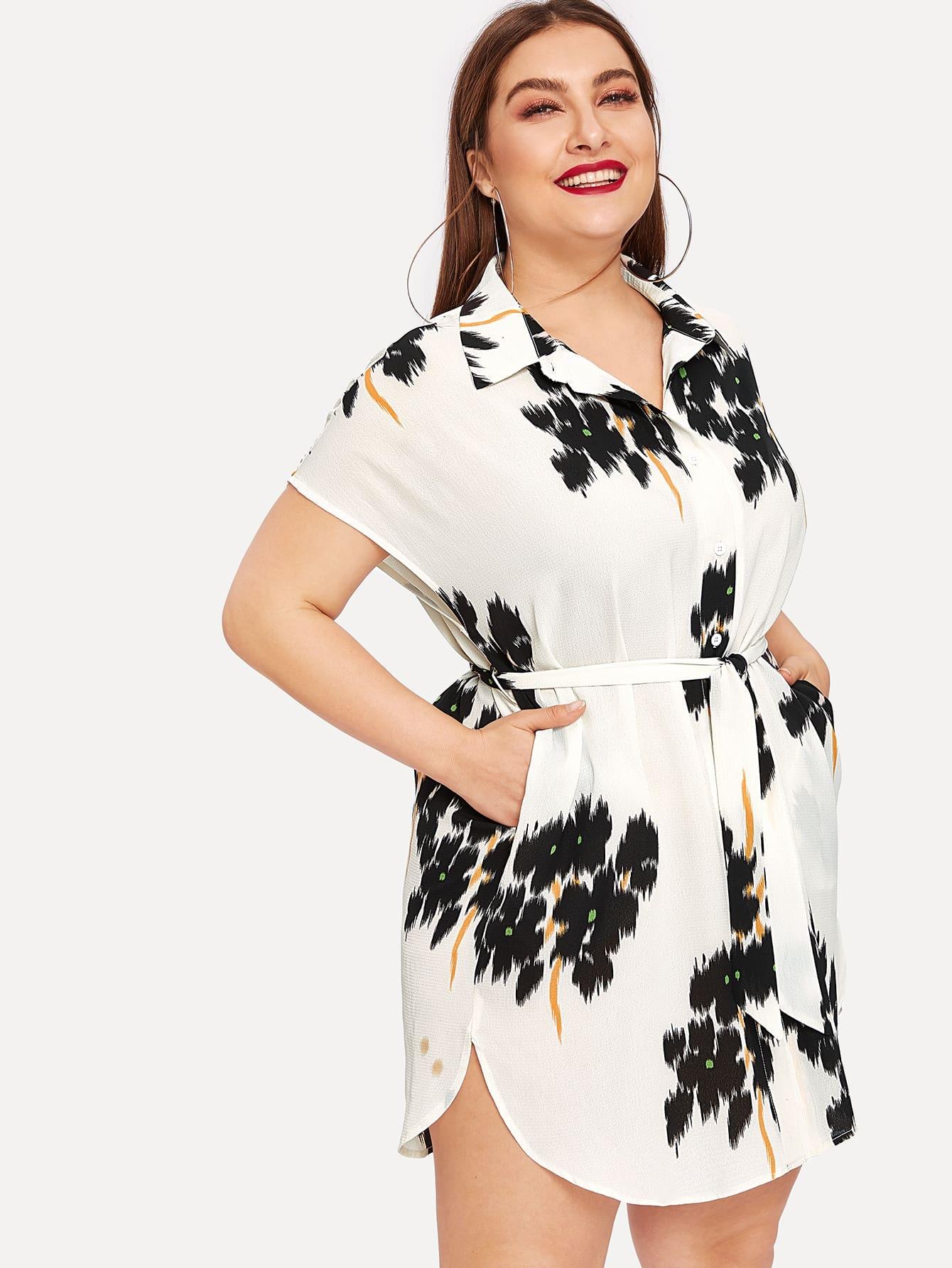 Размер плюс платье-рубашка с рукавом летучей мыши и поясом