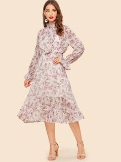 Tie Neck Ruffle Hem Floral Dress