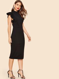 90 Ruffle Trim Backless Split Dress