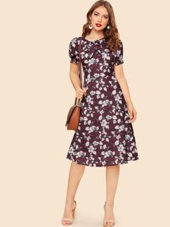 70s Bow Neck Tie Waist Floral & Plaid Dress