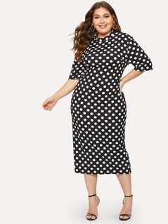 Plus Mock-neck Polka-dot Print Pencil Dress