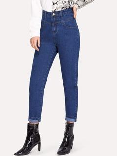 High Waist Rolled Hem Skinny Jeans
