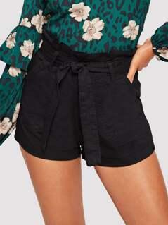 Slant Pocket Paperbag Waist Denim Shorts