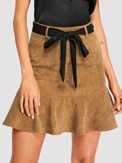 Self Belted Flounce Hem Corduroy Skirt