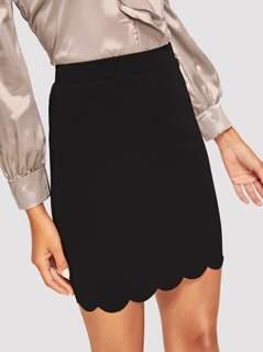 Scallop Edge Bodycon Skirt