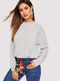 Drop Shoulder Heather Grey Sweatshirt