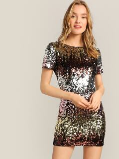V Neck Back Zip Detail Sequin Dress