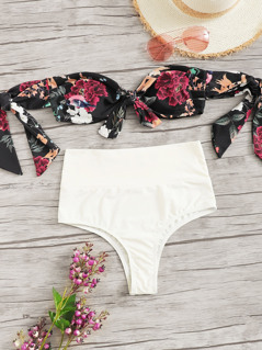 Knot Front Floral Top With High Waist Bikini Set