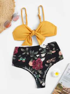 Knot Rib-knit Top With Random Floral High Waist Bikini Set