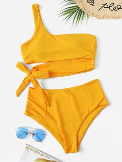 One Shoulder Top With High Waist Bikini Set