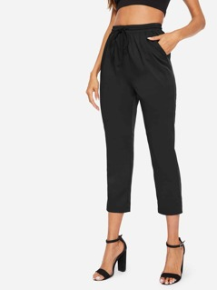 Drawstring Waist Pleated Pants