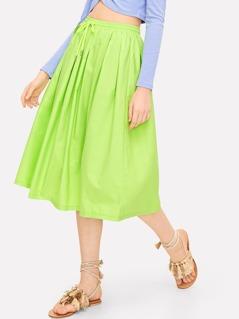Neon Green Drawstring Waist Pleated Skirt