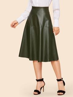 70s Zip Detail PU Skirt
