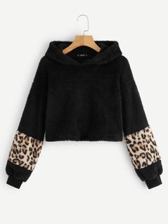 Contrast Leopard Sleeve Teddy Hoodie