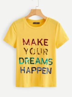 Sequin Slogan T-shirt