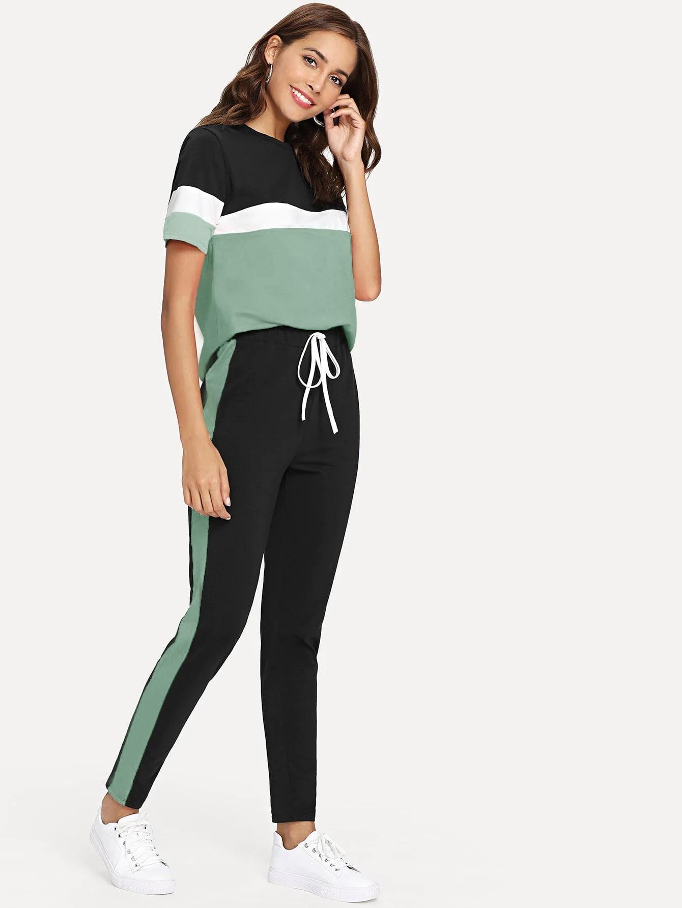 Купить Контрастная футболка и брюки с кулиской на талии, Giulia, SheIn