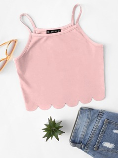 Scallop Hem Crop Cami Top