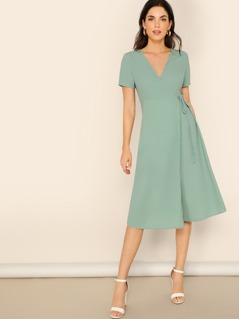 Surplice Neck Wrap Knotted Solid Dress