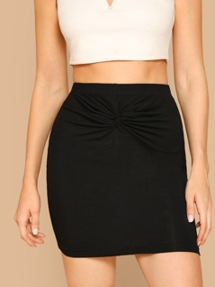 Twist Front Solid Bodycon Skirt