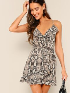 Snake Print Waist Tie Ruffle Trim Mini Dress