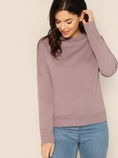 Round Neck Rib Knit Banded Pullover Sweatshirt