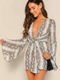 Snake Print Twist Front Flared Sleeve Mini Dress