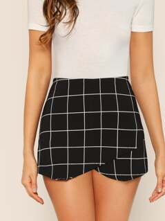 Back Zipper Checked Envelope Skort