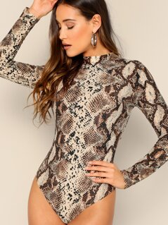 Snake Print Back Cut Out High Neck Bodysuit