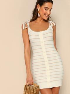 Tie Straps Button Detail Stripe Knit Mini Dress