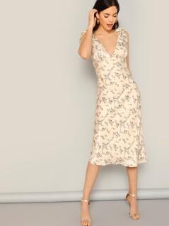 Tie Shoulder Strap Floral V-Neck Midi Dress