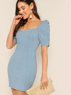 Sweetheart Neck Puff Sleeve Denim Mini Dress