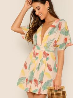 Leaf Print Open Back Waist Tie Short Sleeve Dress