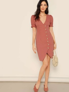 Button Detail Ruffle Trim Puff Sleeve Shirt Dress