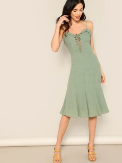 Lace Up Front Mermaid Hem Midi Dress