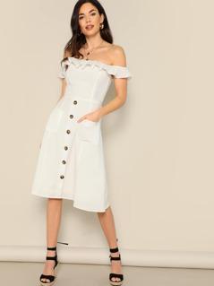 Button Detail Off Shoulder Ruffle Trim Midi Dress