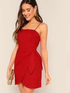 Straight Neck Waist Tie Cami Tank Dress