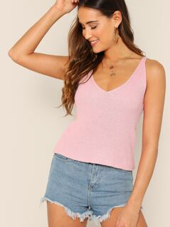 V-Neck Pullover Knitted Tank Top