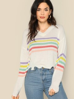 Striped V-Neck Tearaway Hem Knitted Sweater