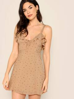 Heart Print Tie Front Swiss Dot Cami Mini Dress