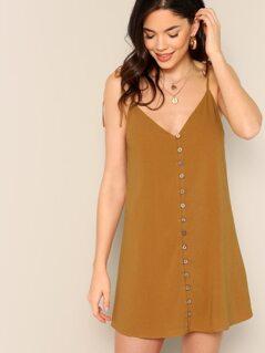 Tie Shoulders Button Front Loose Fit Mini Dress