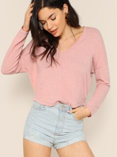V-Neck Pullover Knitted Jumper Sweater
