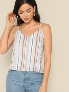 Striped V-Neck Swing Cami Tank Top