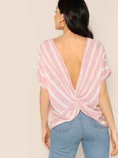 Striped Back Twist Short Sleeve Blouse
