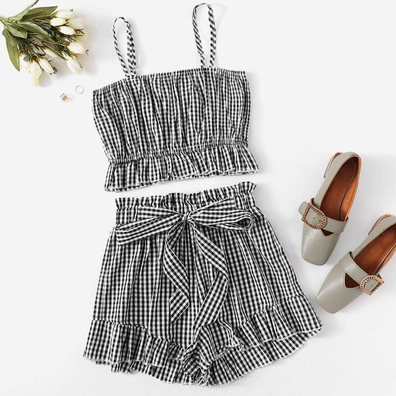 Gingham Ruffle Hem Cami Top With Shorts, Black and white