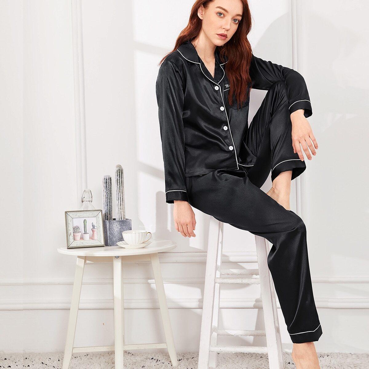 Zwart Casual Tekst Lounge kleding Knoop