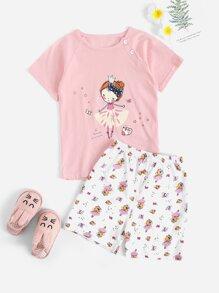 Cartoon   Toddler   Pajama   Print   Girl   Set